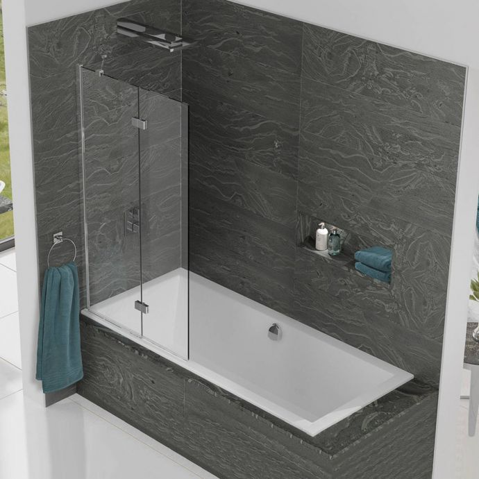 Kudos Inspire 8mm Two Panel In Fold Bath Screen Left Hand