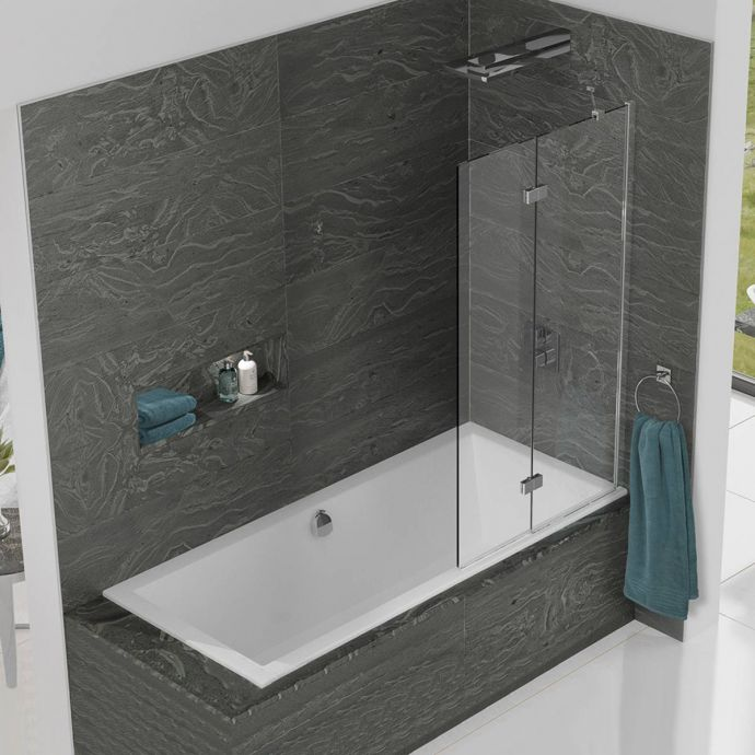 Kudos Inspire 8mm Two Panel In Fold Bath Screen Right Hand