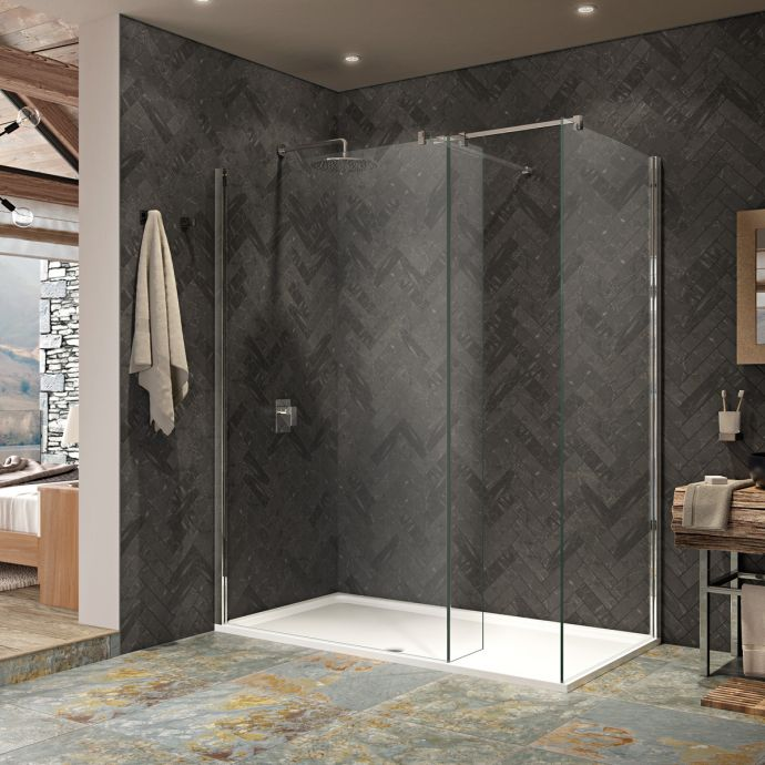 Kudos Ultimate 2 10mm Walk In Recess Shower Enclosure 1200 x 900 with Shower Tray