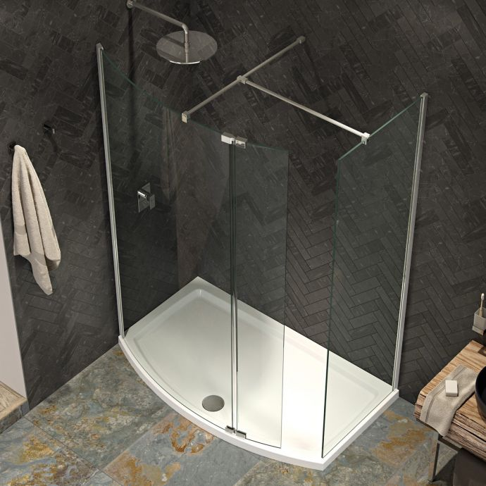 Kudos Ultimate 2 8mm Curved Walk In Shower Enclosure 1500 x 700 with Shower Tray