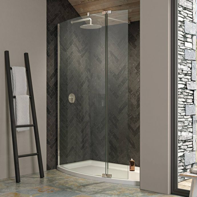 Kudos Ultimate 2 8mm Curved Recess Walk In Shower Enclosure 1500 x 700 with Shower Tray