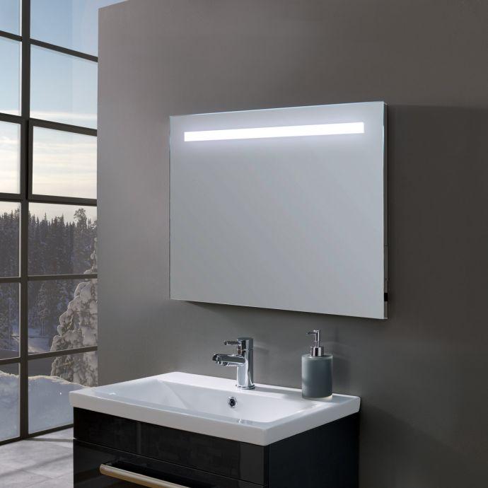 Lucent Ultra Slim Battery Powered LED Illuminated Mirror 700 x 500mm