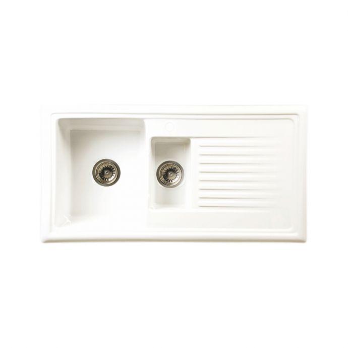 Reginox 1.5 Bowl Ceramic Kitchen Sink White 1010 x 525mm