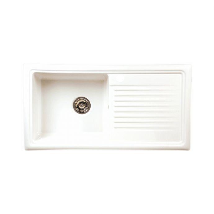 Reginox 1 Bowl Ceramic Kitchen Sink White 1015 x 525mm