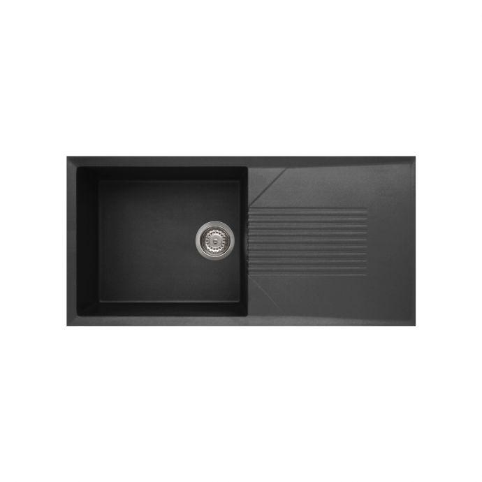Reginox Tekno 1 Bowl Granite Kitchen Sink Black 1000 x 500mm