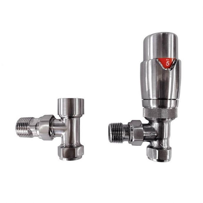 Reina Modal Angled Thermostatic Radiator Valves Brushed