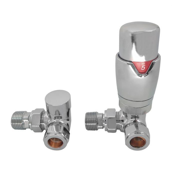 Reina Modal Corner Thermostatic Radiator Valves Chrome