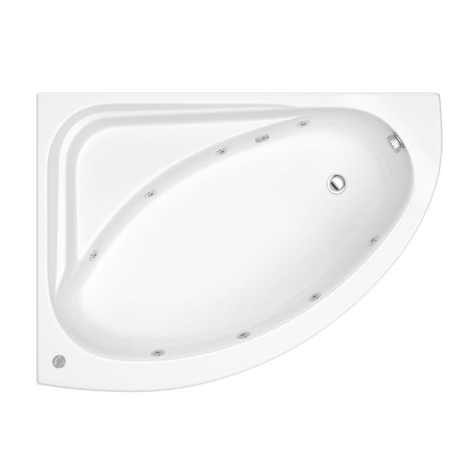 Trojancast Orlando Reinforced 8 Jet Whirlpool Corner Bath 1500 x 1060 with Bath Waste Left Hand
