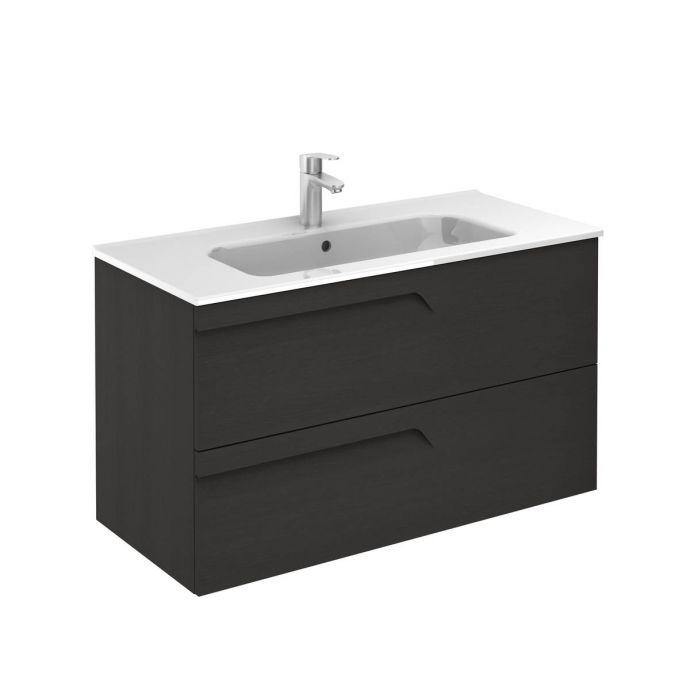Royo Vitale 2 Drawer Wall Hung Vanity Unit & Basin Grey Nature 1010mm