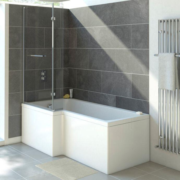 Trojancast Solarna Reinforced L Shape Shower Bath 1700 x 850 with Panel & Screen Left Hand