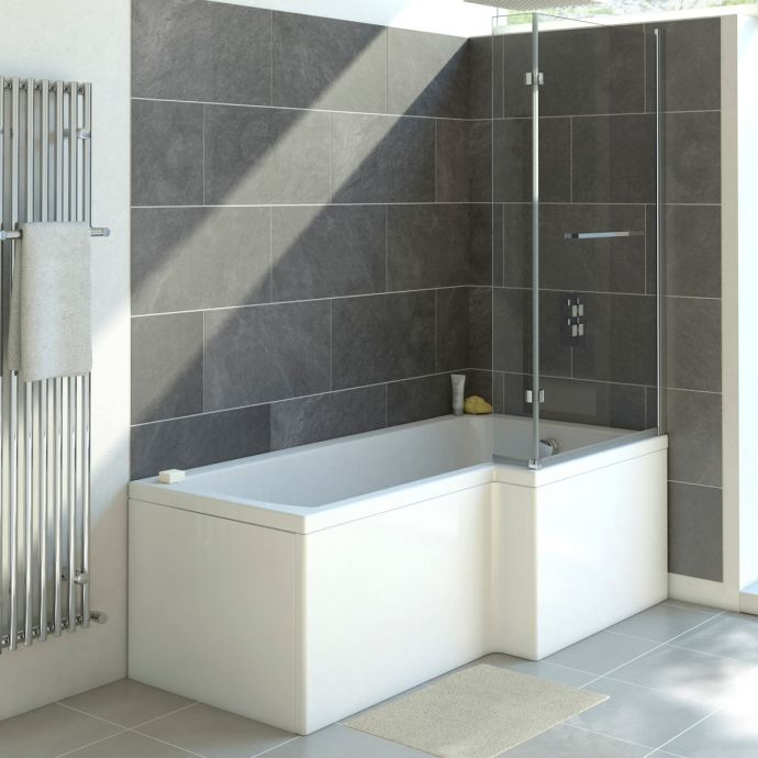Trojancast Solarna Reinforced L Shape Shower Bath 1700 x 850 with Panel & Screen Right Hand