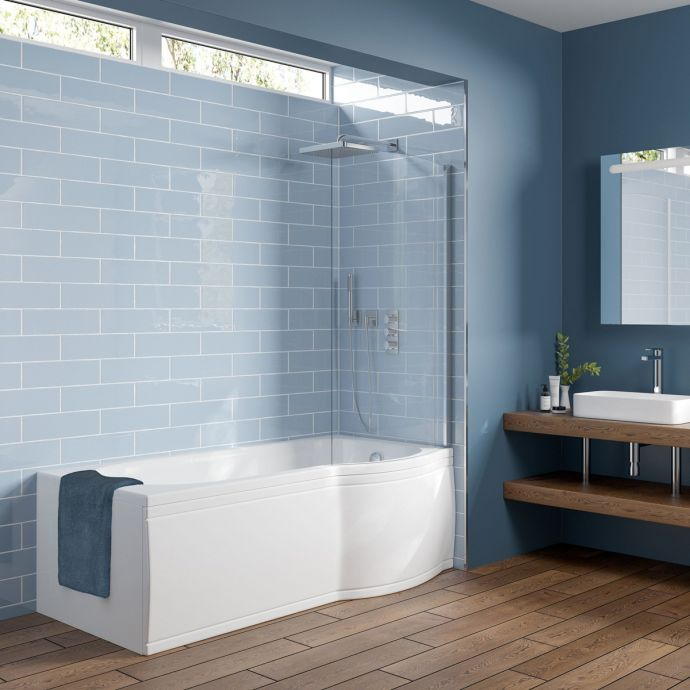 Concert Compact Reinforced P Shape Shower Bath 1675 x 800 with Panel & Screen Right Hand