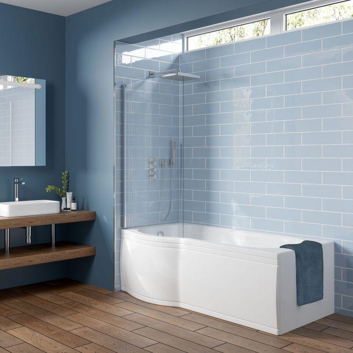 Trojan Concert P Shape Shower Bath 1700 x 850 with Panel & Screen Left Hand