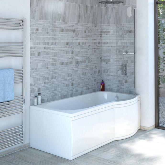 Trojan Concert P Shape Shower Bath 1700 x 850 with Panel & Screen Right Hand