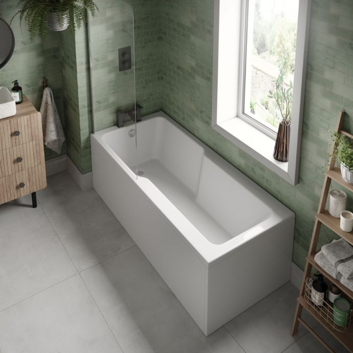 Trojan Evolve Single Ended Shower Bath 1700 x 750 with Panel & Screen