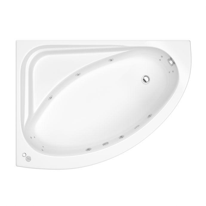 Trojan Orlando Reinforced 14 Jet Whirlpool Corner Bath 1500 x 1000 with LED Light & Bath Waste Left Hand