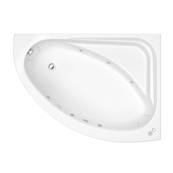 Trojan Orlando Reinforced 14 Jet Whirlpool Corner Bath 1500 x 1000 with LED Light & Bath Waste Right Hand