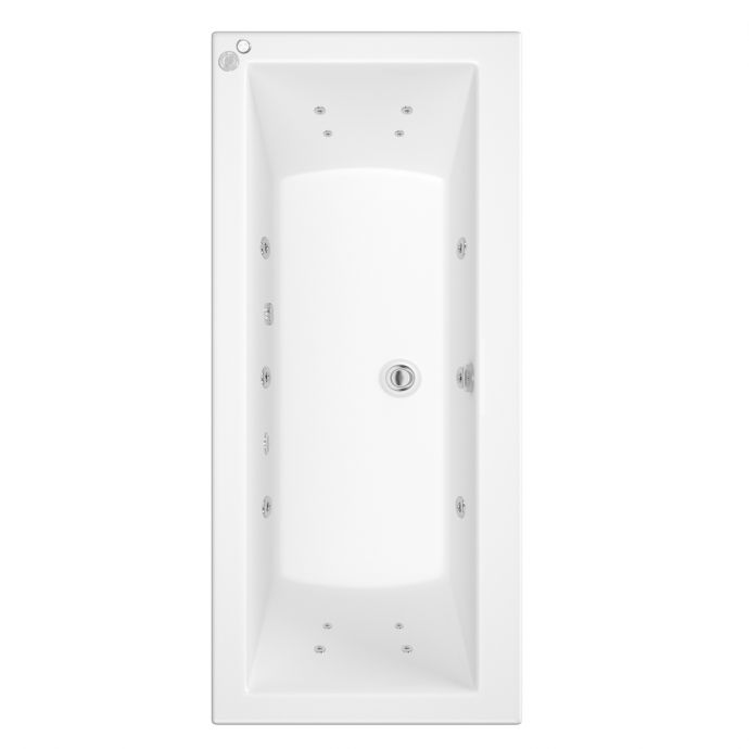 Trojan Solarna Double Ended 14 Jet Whirlpool Bath 1800 x 800 with LED Light & Bath Waste