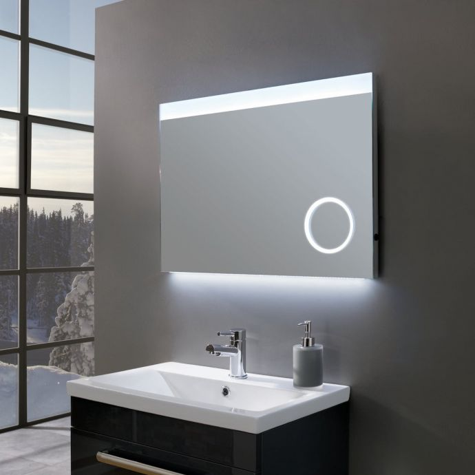 Deluxe Ultra Slim Landscape LED Illuminated Mirror with Magnifier 700 x 500