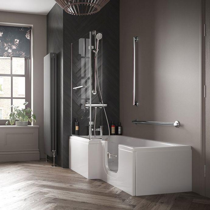 Bathe Easy Solarna L Shape Walk In Shower Bath 1700 x 850 Right Hand