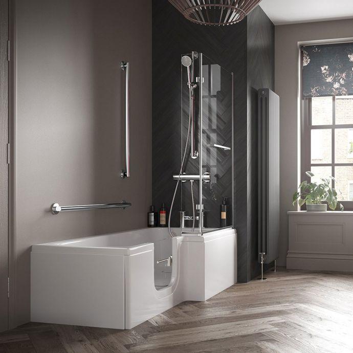 Bathe Easy Solarna L Shape Walk In Shower Bath 1700 x 850 Left Hand