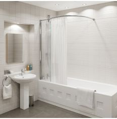 Kudos Inspire Over Bath Shower Panel With Curved Shower