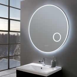 Allure Ultra Slim Round LED Illuminated Mirror with Magnifier 800mm