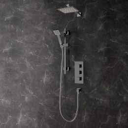 Bordo Thermostatic Triple Concealed Shower Valve System with Fixed Shower Head