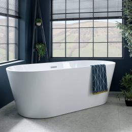 Caswell Freestanding Double Ended Bath 1600 x 750 with Waste