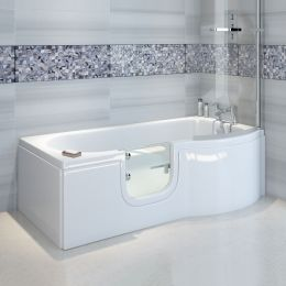 Bathe Easy Concert P Shape Walk In Shower Bath 1675 x 750 Left Hand