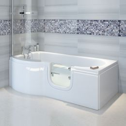 Bathe Easy Concert P Shape Walk In Shower Bath 1675 x 850 Right Hand