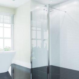 Coral 6mm Wet Room Glass Hinged Deflector Panel 300mm