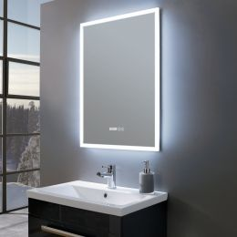 Amour Ultra Slim Portrait LED Illuminated Mirror with Digital Clock 530 x 730 Roomset