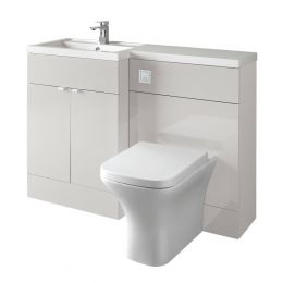 Hudson Reed Fusion Combination Furniture & Basin Grey Mist Gloss 1200mm Left Hand Option A