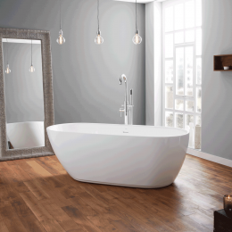 April Harrogate Thin Rim Freestanding Bath White 1700 x 750 Inc Waste