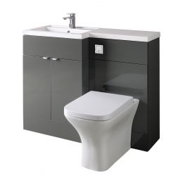Hudson Reed Fusion Combination Furniture & Basin Grey Gloss 1100mm Left Hand