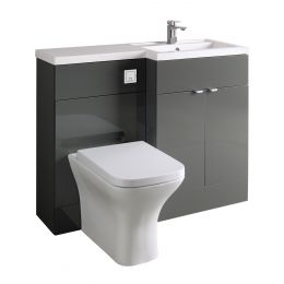 Hudson Reed Fusion Combination Furniture & Basin Grey Gloss 1100mm Right Hand