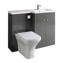 Hudson Reed Fusion Combination Furniture & Basin Grey Gloss 1105mm Right Hand