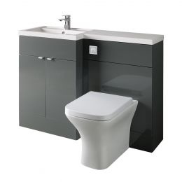 Hudson Reed Fusion Combination Furniture & Basin Grey Gloss 1205mm Left Hand Option A