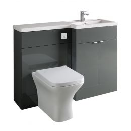 Hudson Reed Fusion Combination Furniture & Basin Grey Gloss 1205mm Right Hand Option A