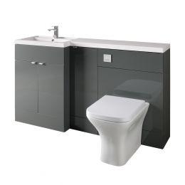Hudson Reed Fusion Combination Furniture & Basin Grey Gloss 1505mm Left Hand Option B