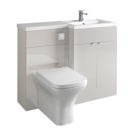Hudson Reed Fusion Combination Furniture & Basin Grey Mist Gloss 1000mm Right Hand