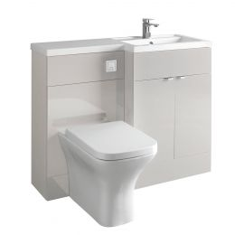 Hudson Reed Fusion Combination Furniture & Basin Grey Mist Gloss 1100mm Right Hand