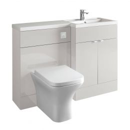 Hudson Reed Fusion Combination Furniture & Basin Grey Mist Gloss 1200mm Right Hand Option A