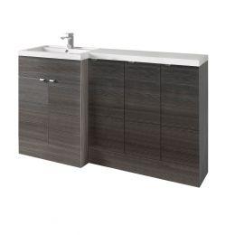 Hudson Reed Fusion Combination Furniture & Basin Hacienda Black 1505mm Left Hand Option C