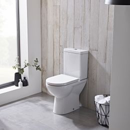 Ion Comfort Close Coupled Toilet with Cistern & Soft Close Seat White Room Set