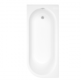 Trojancast J Shape Reinforced Bath 1695 x 745mm with Panel Left Hand