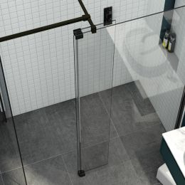 Kudos 10mm Ultimate 2 Wet Room Glass Fold Away Deflector Panel Black Right Hand 300mm