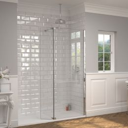 Kudos 10mm Ultimate 2 Wet Room Glass Fold Away Deflector Panel Right Hand 300mm