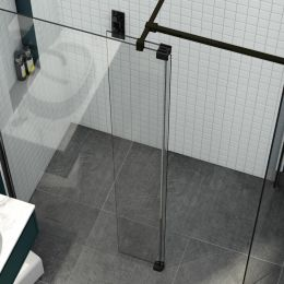 Kudos 8mm Ultimate 2 Wet Room Glass Fold Away Deflector Panel Black Left Hand 300mm